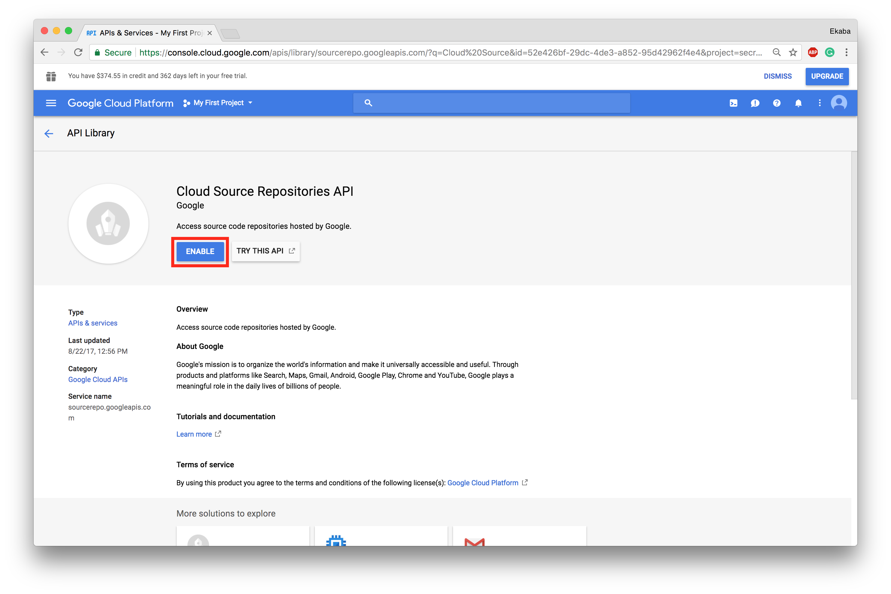 Enable Cloud Source Repositories API.