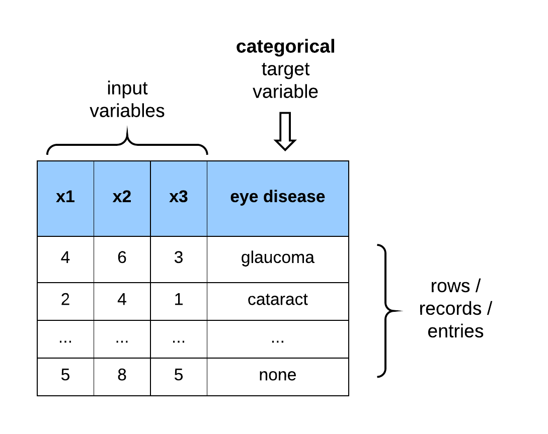 Dataset with categorical outputs.